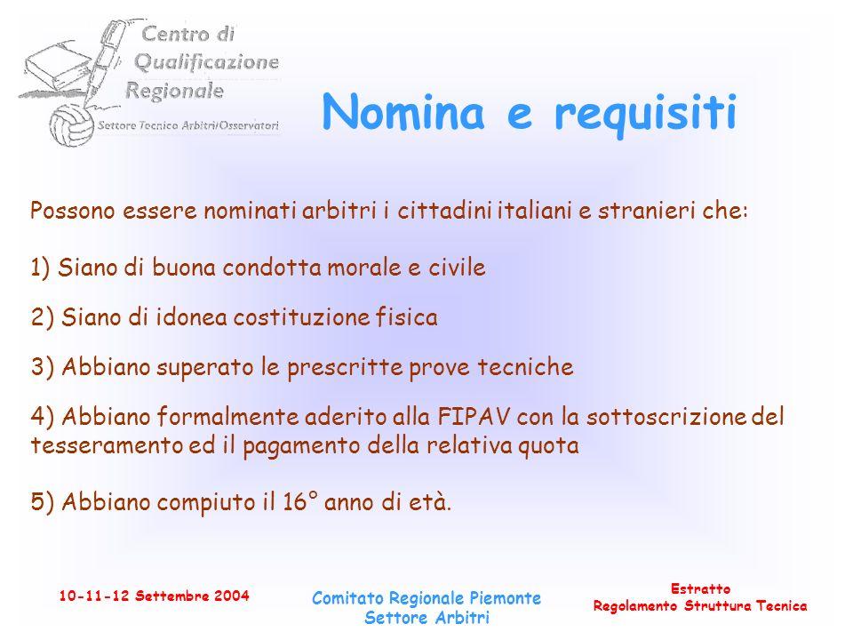 Estratto Regolamento Struttura Tecnica 10-11-12 Settembre 2004 Comitato Regionale Piemonte Settore Arbitri Idonea costituzione fisica Lidoneità fisica allattività arbitrale è certificata da un medico.