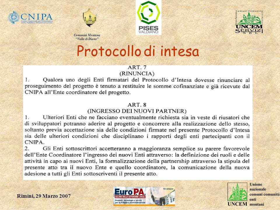 Comunità Montana Vallo di Diano Rimini, 29 Marzo 2007 Protocollo di intesa