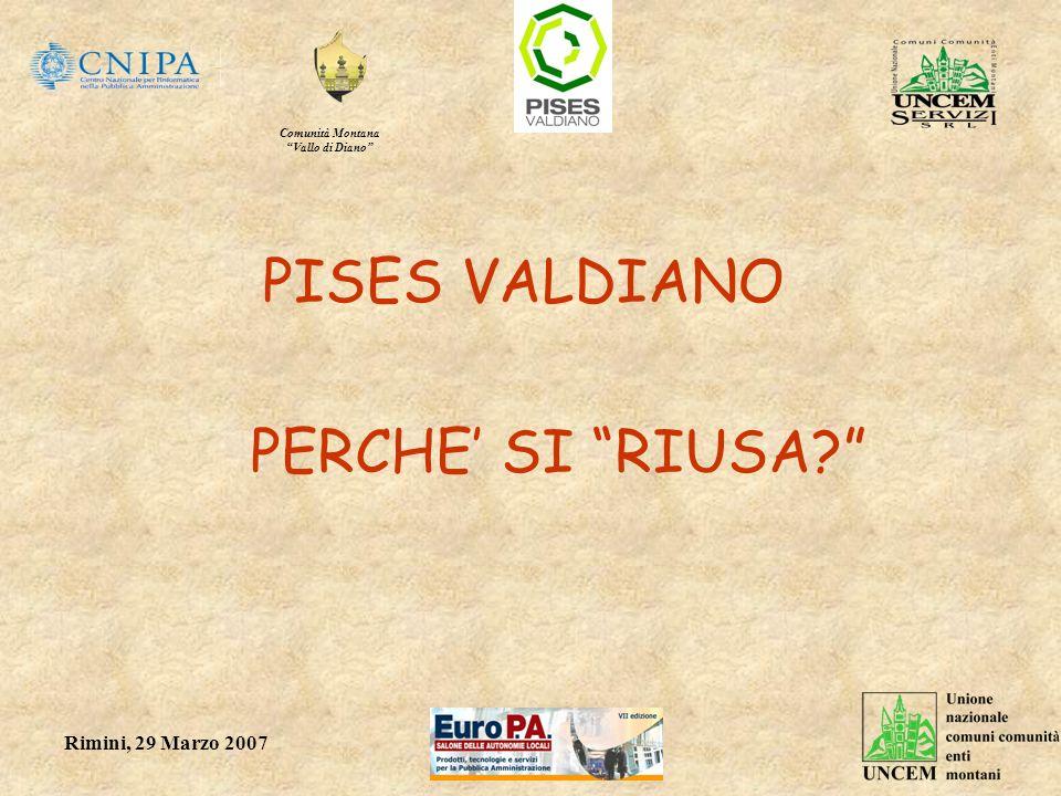 Comunità Montana Vallo di Diano Rimini, 29 Marzo 2007 PISES VALDIANO PERCHE SI RIUSA?