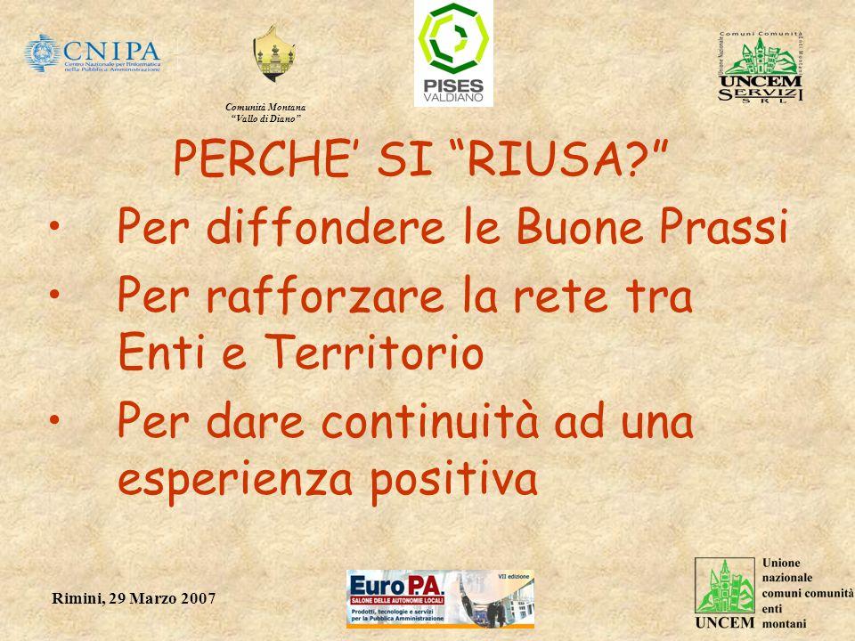 Comunità Montana Vallo di Diano Rimini, 29 Marzo 2007 PERCHE SI RIUSA? Per diffondere le Buone Prassi Per rafforzare la rete tra Enti e Territorio Per