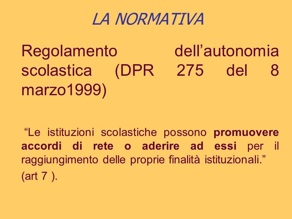 LA NORMATIVA Regolamento dellautonomia scolastica (DPR 275 del 8 marzo1999) Le istituzioni scolastiche possono promuovere accordi di rete o aderire ad essi per il raggiungimento delle proprie finalità istituzionali.