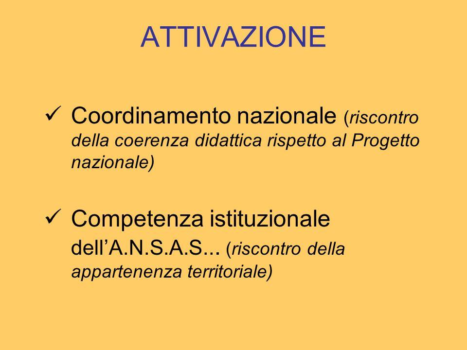ATTIVAZIONE Coordinamento nazionale (riscontro della coerenza didattica rispetto al Progetto nazionale) Competenza istituzionale dellA.N.S.A.S...