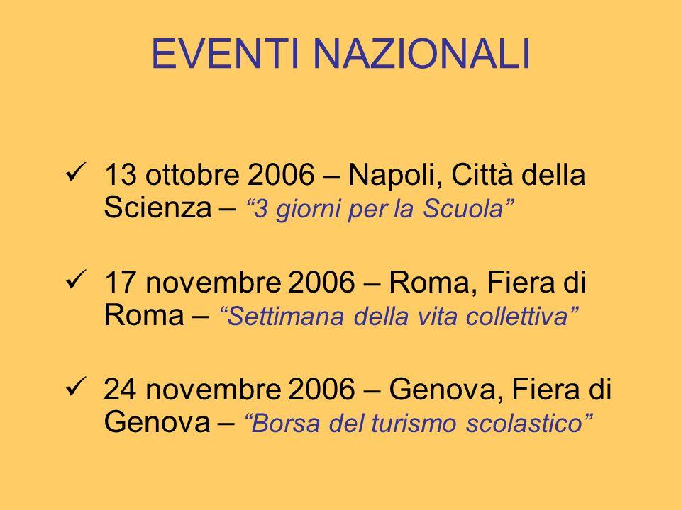 EVENTI NAZIONALI 13 ottobre 2006 – Napoli, Città della Scienza – 3 giorni per la Scuola 17 novembre 2006 – Roma, Fiera di Roma – Settimana della vita collettiva 24 novembre 2006 – Genova, Fiera di Genova – Borsa del turismo scolastico
