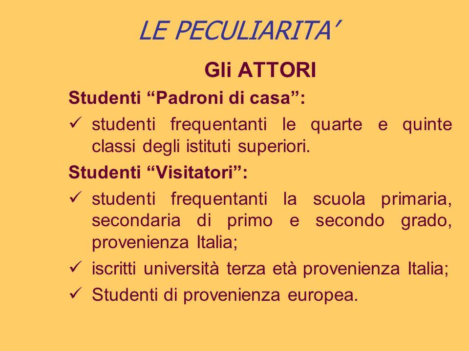 LE PECULIARITA Gli ATTORI Studenti Padroni di casa: studenti frequentanti le quarte e quinte classi degli istituti superiori.