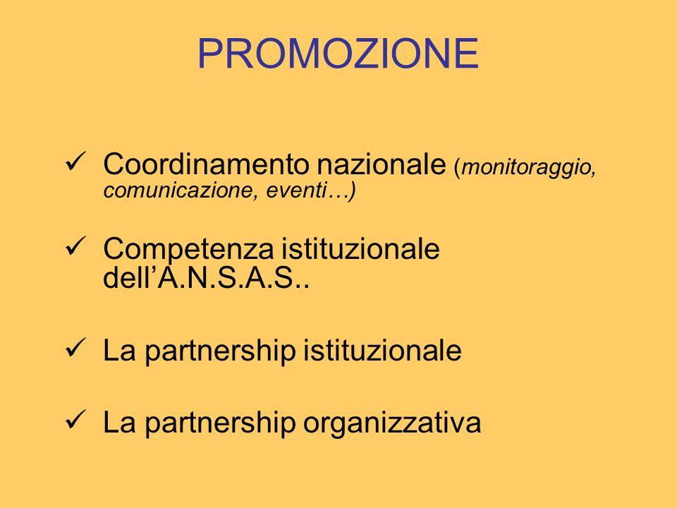 PROMOZIONE Coordinamento nazionale (monitoraggio, comunicazione, eventi…) Competenza istituzionale dellA.N.S.A.S.. La partnership istituzionale La par