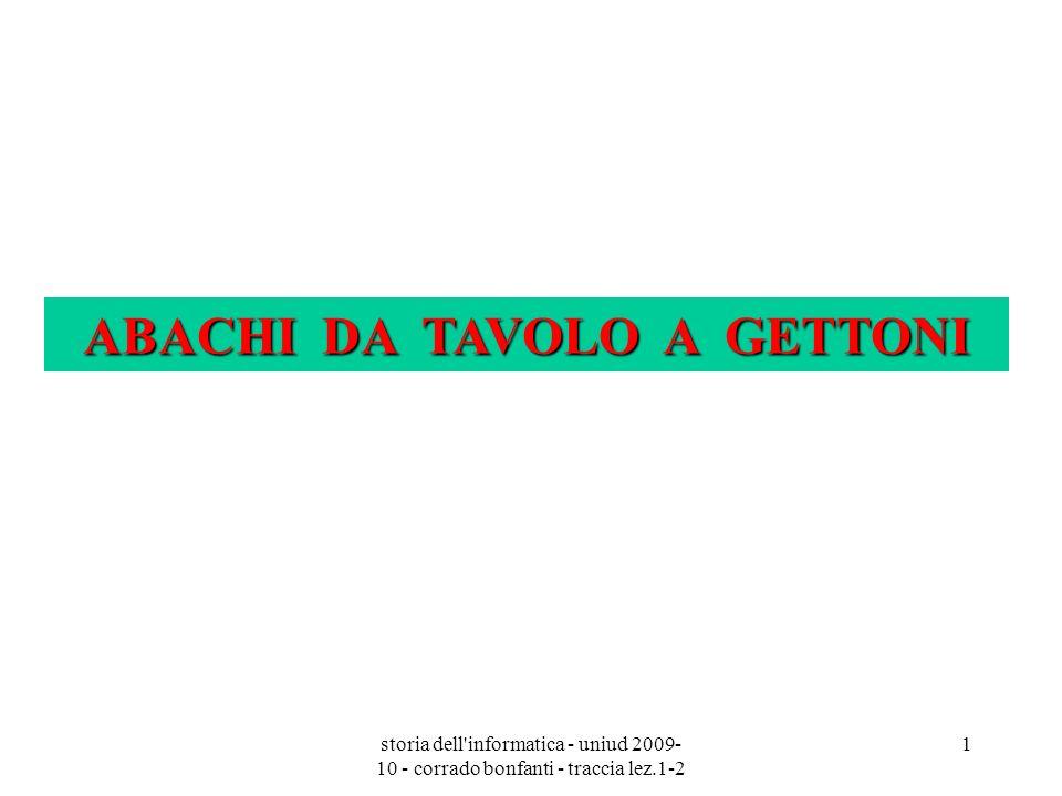 storia dell'informatica - uniud 2009- 10 - corrado bonfanti - traccia lez.1-2 1 ABACHI DA TAVOLO A GETTONI