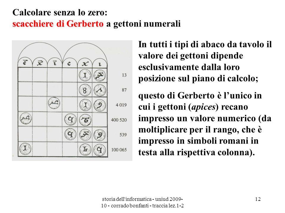 storia dell'informatica - uniud 2009- 10 - corrado bonfanti - traccia lez.1-2 12 scacchiere di Gerberto Calcolare senza lo zero: scacchiere di Gerbert