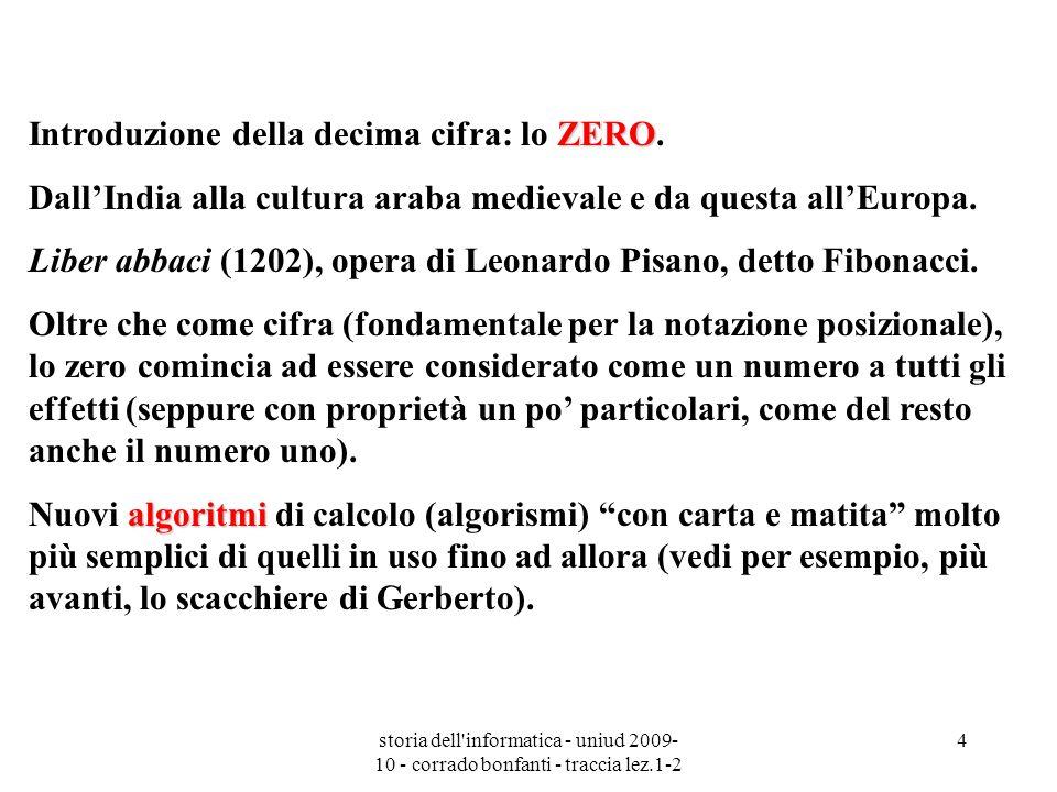 storia dell'informatica - uniud 2009- 10 - corrado bonfanti - traccia lez.1-2 4 ZERO Introduzione della decima cifra: lo ZERO. DallIndia alla cultura