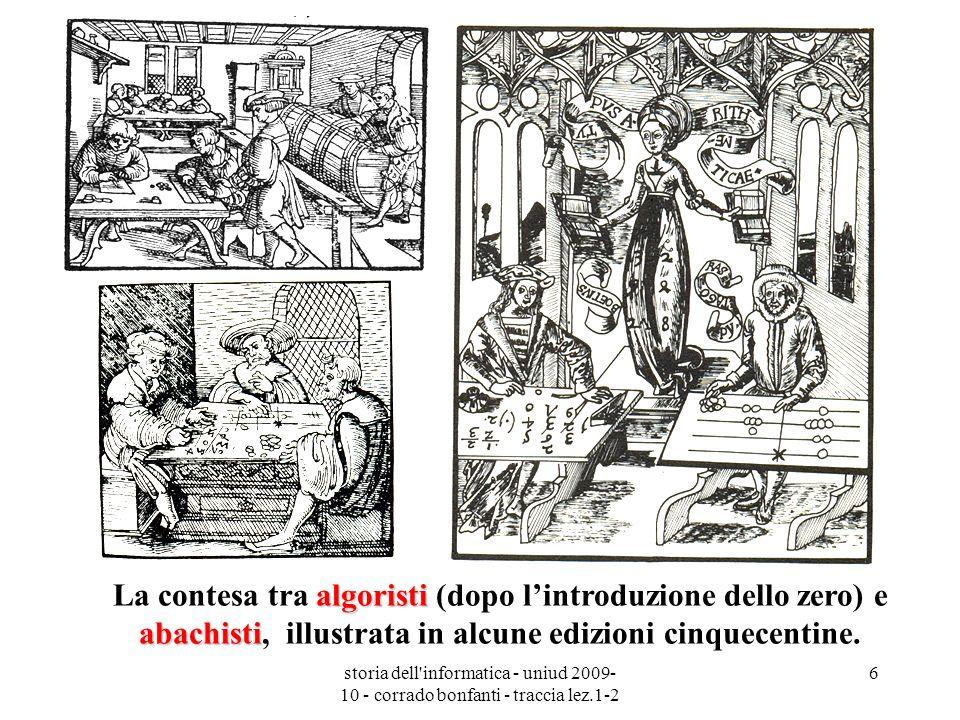 storia dell'informatica - uniud 2009- 10 - corrado bonfanti - traccia lez.1-2 6 algoristi abachisti La contesa tra algoristi (dopo lintroduzione dello