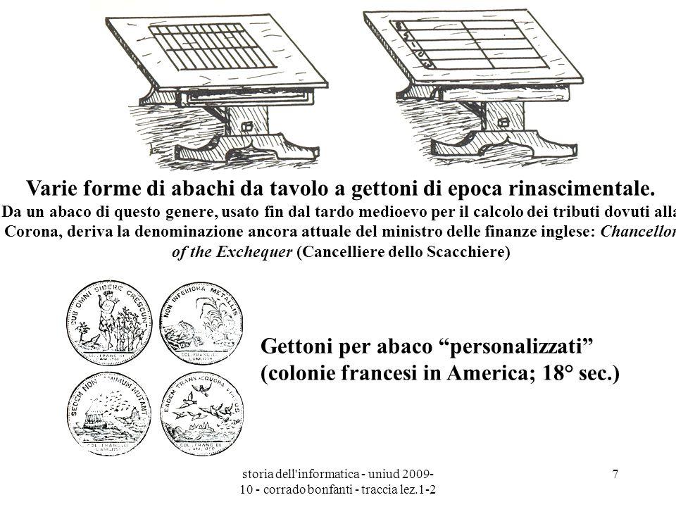 storia dell'informatica - uniud 2009- 10 - corrado bonfanti - traccia lez.1-2 7 Gettoni per abaco personalizzati (colonie francesi in America; 18° sec