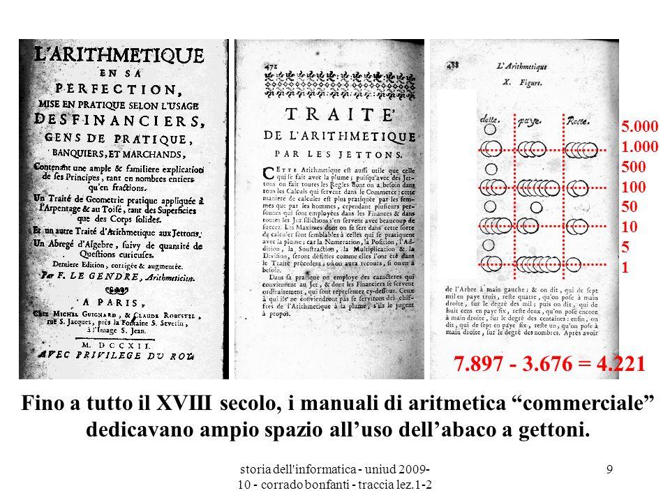 storia dell'informatica - uniud 2009- 10 - corrado bonfanti - traccia lez.1-2 9 Fino a tutto il XVIII secolo, i manuali di aritmetica commerciale dedi
