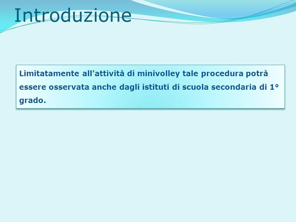 Introduzione Limitatamente allattività di minivolley tale procedura potrà essere osservata anche dagli istituti di scuola secondaria di 1° grado.