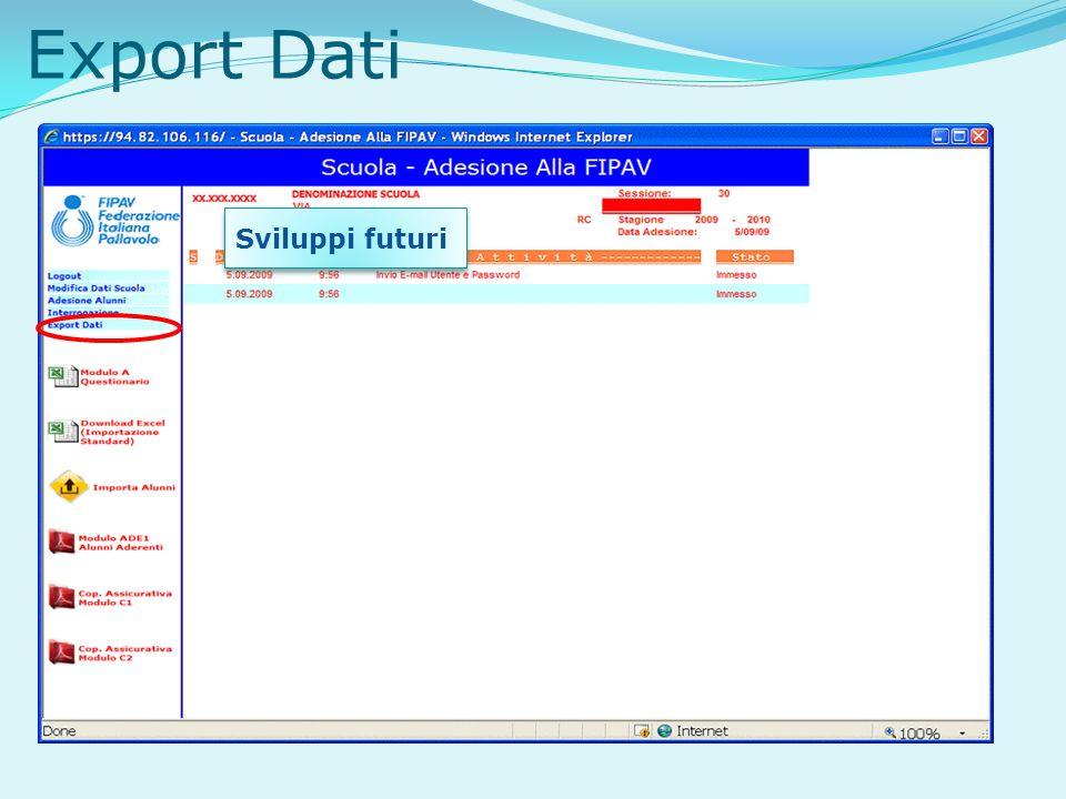 Export Dati Sviluppi futuri