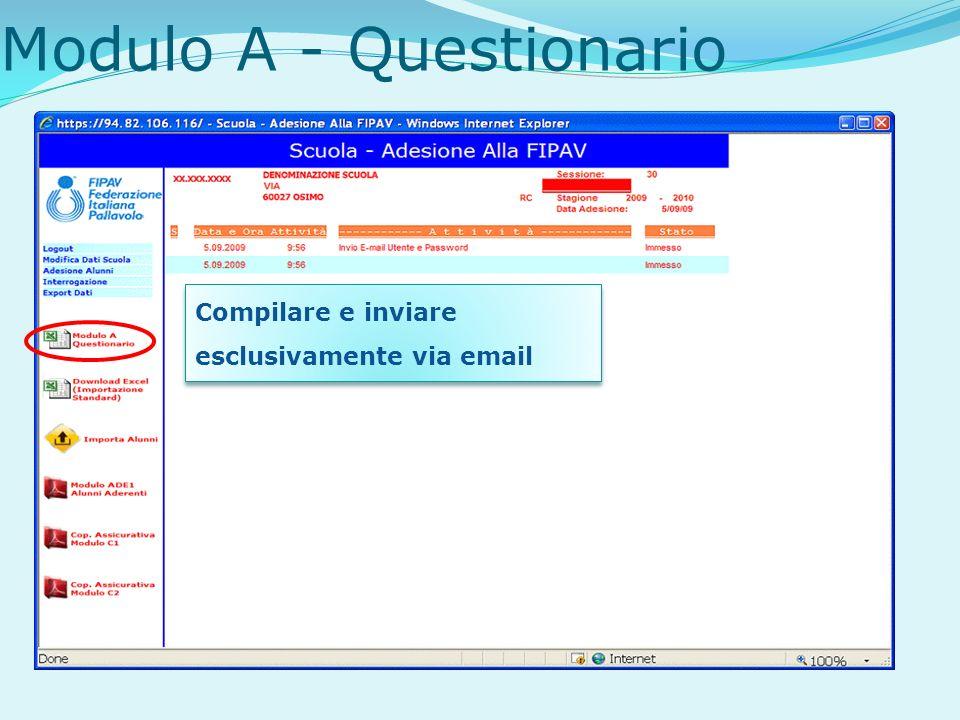 Modulo A - Questionario Compilare e inviare esclusivamente via email