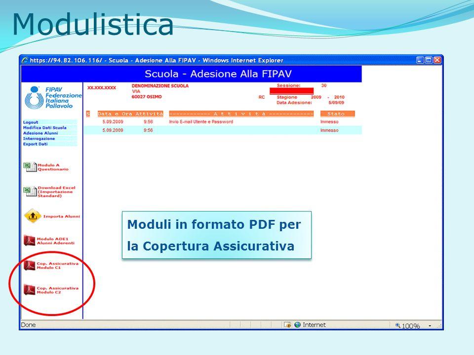 Modulistica Moduli in formato PDF per la Copertura Assicurativa