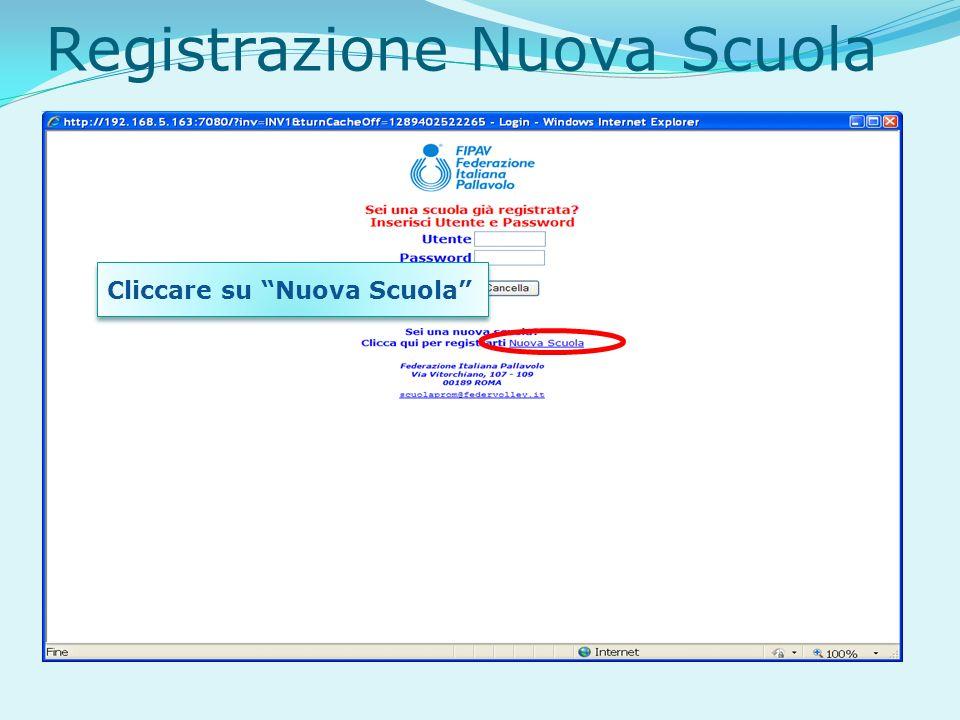 Registrazione Nuova Scuola Cliccare su Nuova Scuola