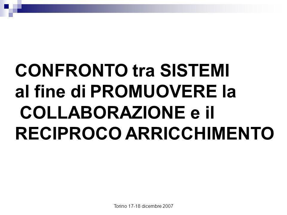 Torino 17-18 dicembre 2007 CONFRONTO tra SISTEMI al fine di PROMUOVERE la COLLABORAZIONE e il RECIPROCO ARRICCHIMENTO