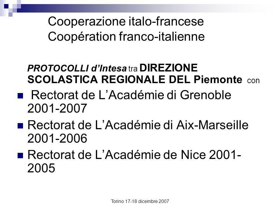 Cooperazione italo-francese Coopération franco-italienne PROTOCOLLI dIntesa tra DIREZIONE SCOLASTICA REGIONALE DEL Piemonte con Rectorat de LAcadémie