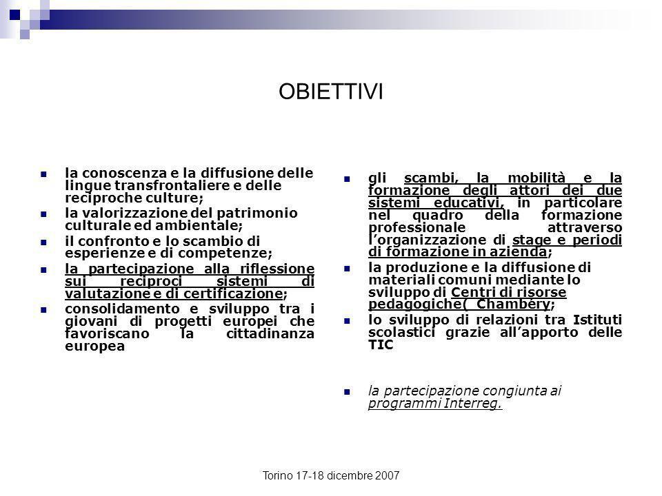 Torino 17-18 dicembre 2007 OBIETTIVI la conoscenza e la diffusione delle lingue transfrontaliere e delle reciproche culture; la valorizzazione del pat