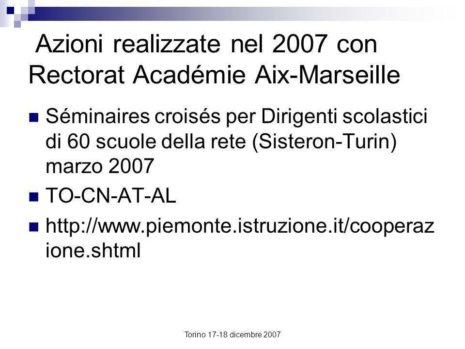 Torino 17-18 dicembre 2007 Azioni realizzate nel 2007 con Rectorat Académie Aix-Marseille Séminaires croisés per Dirigenti scolastici di 60 scuole del