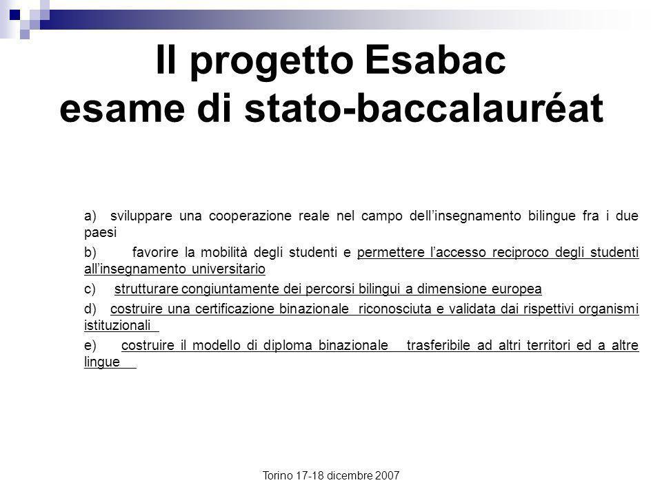 Torino 17-18 dicembre 2007 Il progetto Esabac esame di stato-baccalauréat a) sviluppare una cooperazione reale nel campo dellinsegnamento bilingue fra