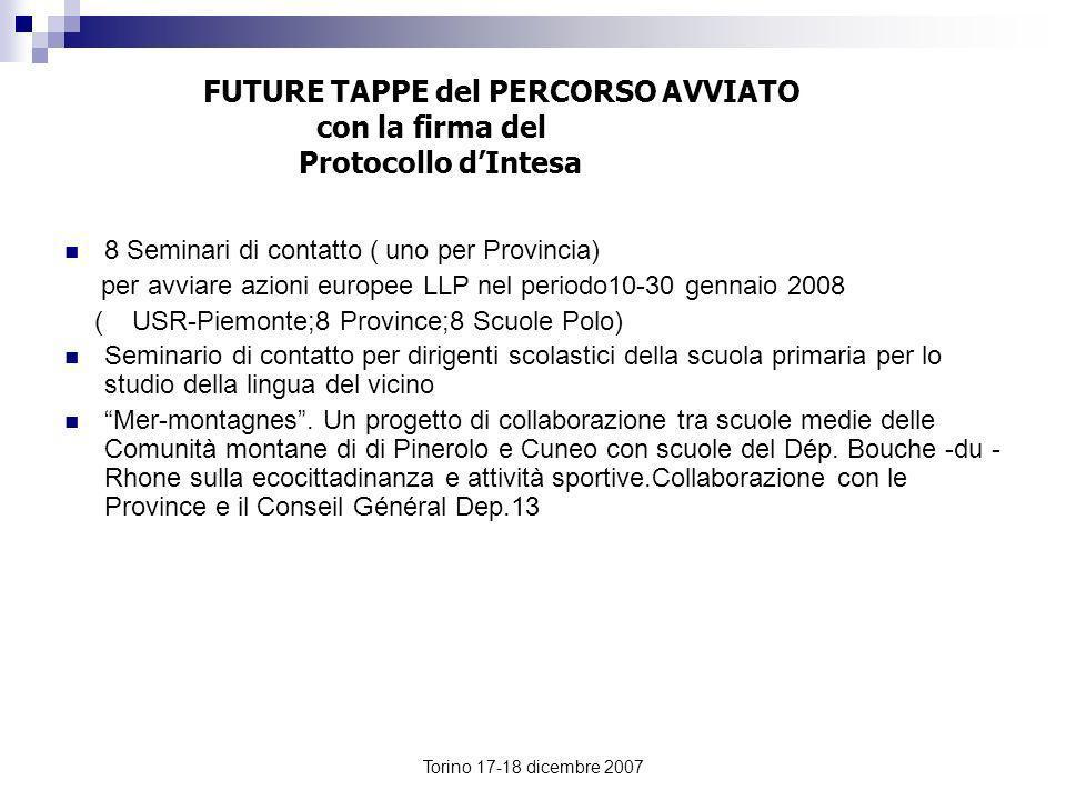 Torino 17-18 dicembre 2007 FUTURE TAPPE del PERCORSO AVVIATO con la firma del Protocollo dIntesa 8 Seminari di contatto ( uno per Provincia) per avvia
