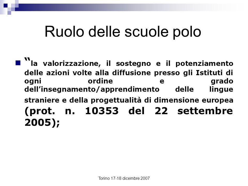 Torino 17-18 dicembre 2007 Ruolo delle scuole polo la valorizzazione, il sostegno e il potenziamento delle azioni volte alla diffusione presso gli Ist