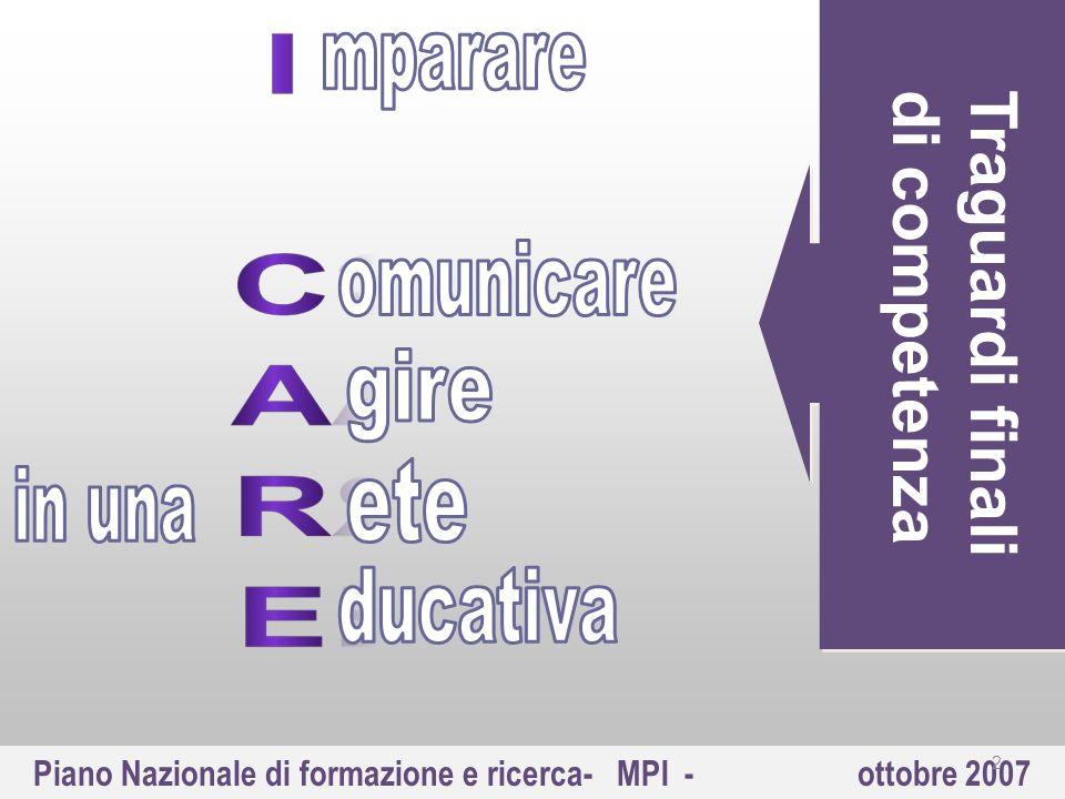 Piano Nazionale di formazione e ricerca- MPI - ottobre 2007 Traguardi finalidi competenza 2