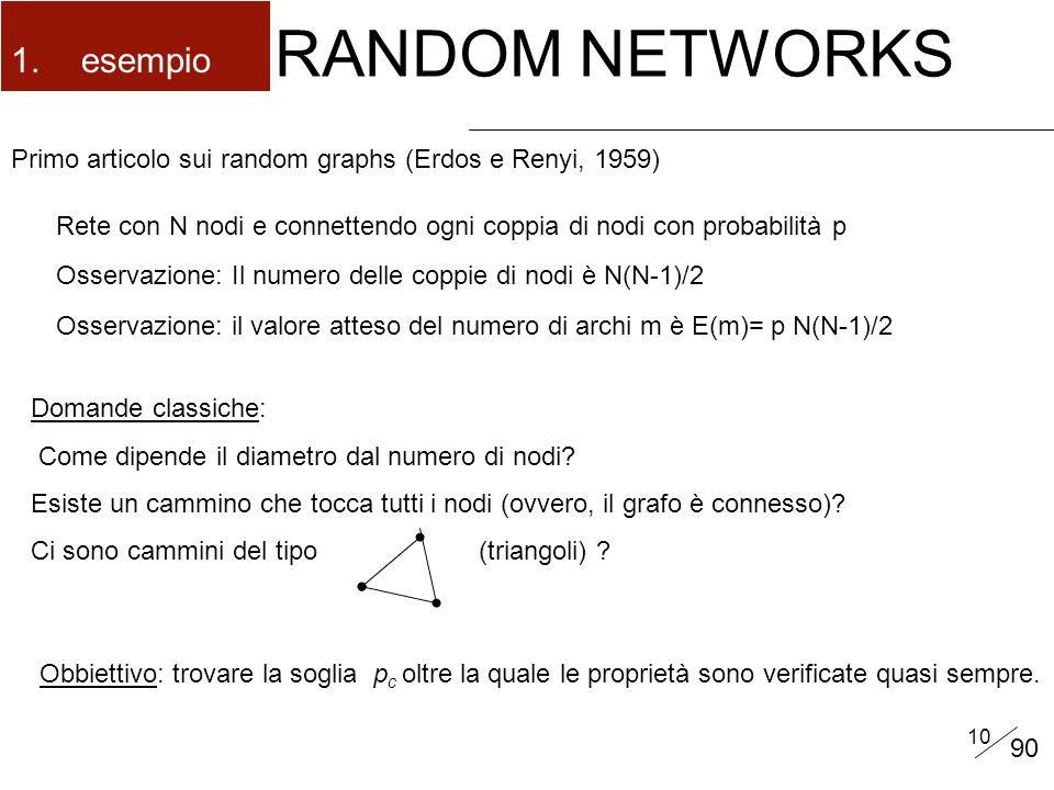 10 RANDOM NETWORKS Primo articolo sui random graphs (Erdos e Renyi, 1959) 1.esempio Rete con N nodi e connettendo ogni coppia di nodi con probabilità p Osservazione: Il numero delle coppie di nodi è N(N-1)/2 Osservazione: il valore atteso del numero di archi m è E(m)= p N(N-1)/2 Domande classiche: Come dipende il diametro dal numero di nodi.
