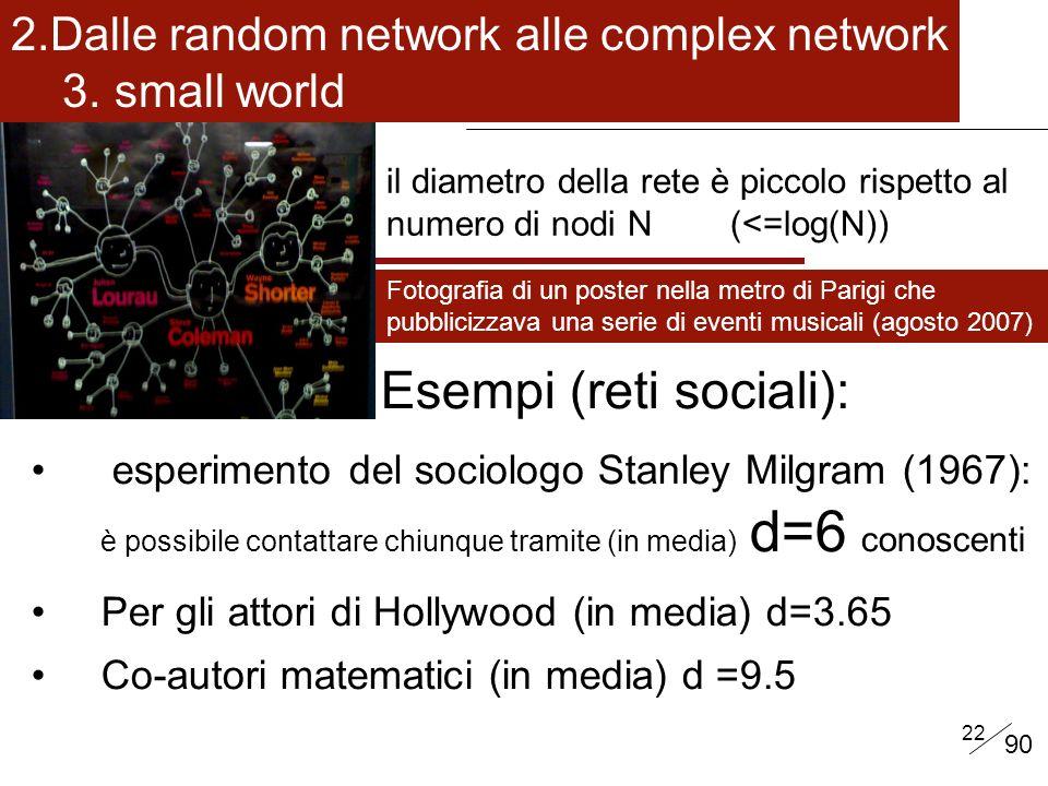 22 il diametro della rete è piccolo rispetto al numero di nodi N (<=log(N)) Esempi (reti sociali): esperimento del sociologo Stanley Milgram (1967): è possibile contattare chiunque tramite (in media) d=6 conoscenti Per gli attori di Hollywood (in media) d=3.65 Co-autori matematici (in media) d =9.5 Fotografia di un poster nella metro di Parigi che pubblicizzava una serie di eventi musicali (agosto 2007) 2.Dalle random network alle complex network 3.