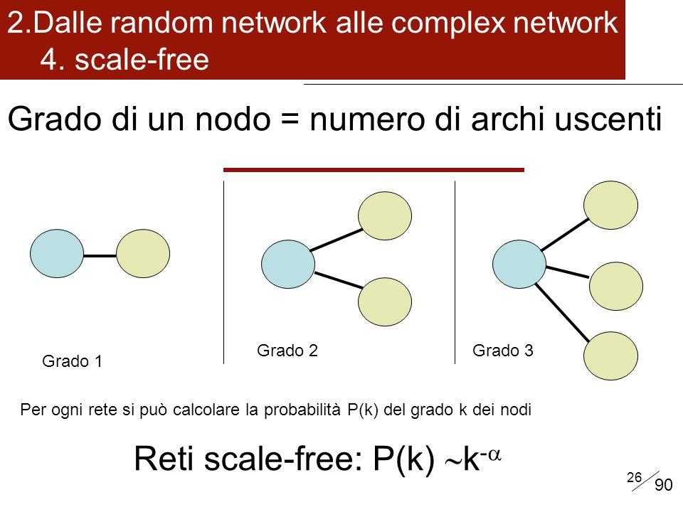 26 Grado 1 Grado 2Grado 3 Per ogni rete si può calcolare la probabilità P(k) del grado k dei nodi Grado di un nodo = numero di archi uscenti 2.Dalle random network alle complex network 4.