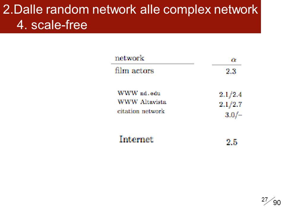 27 2.Dalle random network alle complex network 4. scale-free 90