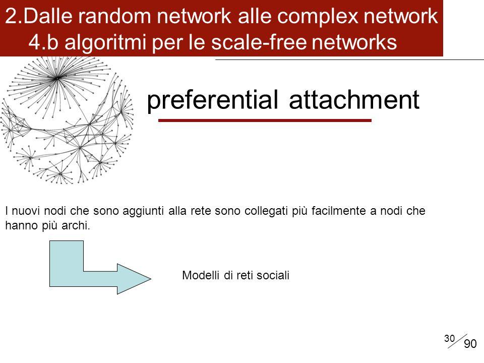 30 preferential attachment I nuovi nodi che sono aggiunti alla rete sono collegati più facilmente a nodi che hanno più archi.