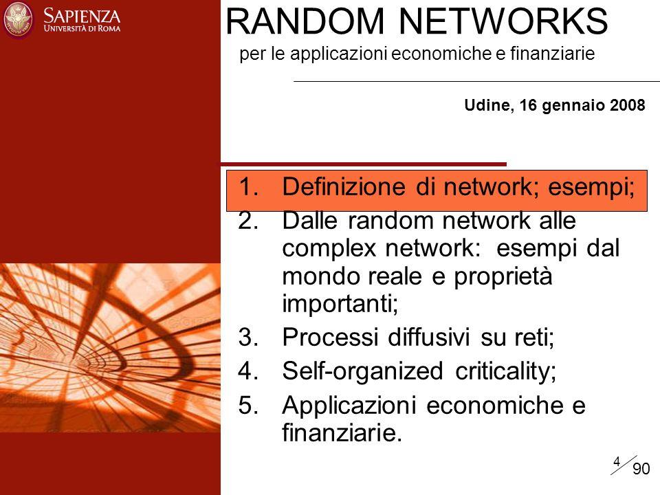 4 RANDOM NETWORKS per le applicazioni economiche e finanziarie Udine, 16 gennaio 2008 1.Definizione di network; esempi; 2.Dalle random network alle complex network: esempi dal mondo reale e proprietà importanti; 3.Processi diffusivi su reti; 4.Self-organized criticality; 5.Applicazioni economiche e finanziarie.