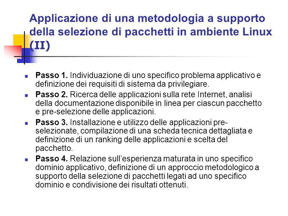 Applicazione di una metodologia a supporto della selezione di pacchetti in ambiente Linux (II) Passo 1.