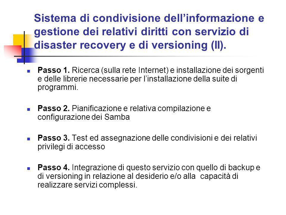 Sistema di condivisione dellinformazione e gestione dei relativi diritti con servizio di disaster recovery e di versioning (II).