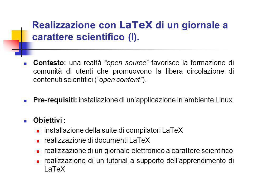 Realizzazione con LaTeX di un giornale a carattere scientifico (II).