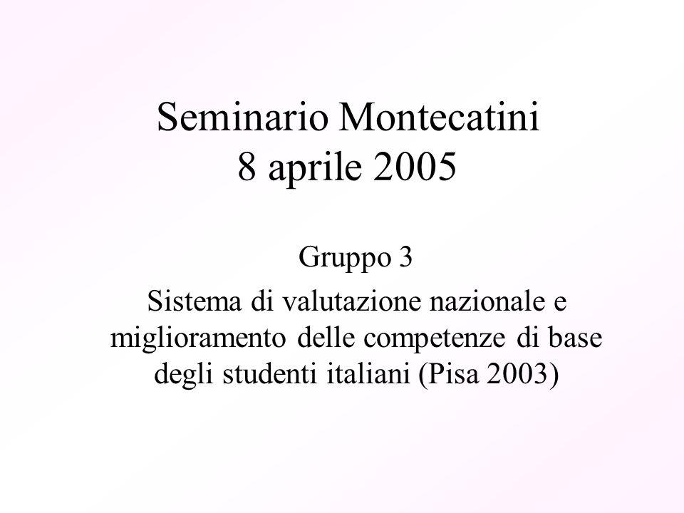Seminario Montecatini 8 aprile 2005 Gruppo 3 Sistema di valutazione nazionale e miglioramento delle competenze di base degli studenti italiani (Pisa 2003)