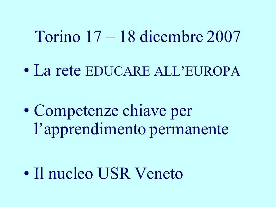 Torino 17 – 18 dicembre 2007 La rete EDUCARE ALLEUROPA Competenze chiave per lapprendimento permanente Il nucleo USR Veneto
