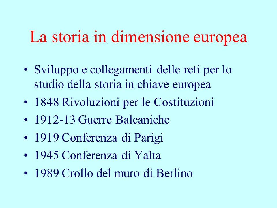 La storia in dimensione europea Sviluppo e collegamenti delle reti per lo studio della storia in chiave europea 1848 Rivoluzioni per le Costituzioni 1912-13 Guerre Balcaniche 1919 Conferenza di Parigi 1945 Conferenza di Yalta 1989 Crollo del muro di Berlino