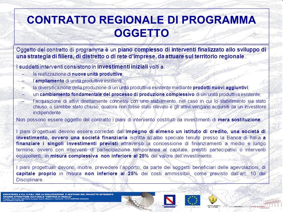 CONTRATTO REGIONALE DI PROGRAMMA OGGETTO Oggetto del contratto di programma è un piano complesso di interventi finalizzato allo sviluppo di una strategia di filiera, di distretto o di rete dimprese, da attuare sul territorio regionale.