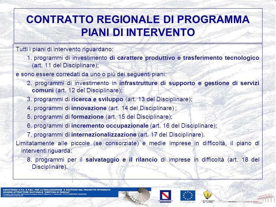 CONTRATTO REGIONALE DI PROGRAMMA PIANI DI INTERVENTO Tutti i piani di intervento riguardano: 1.