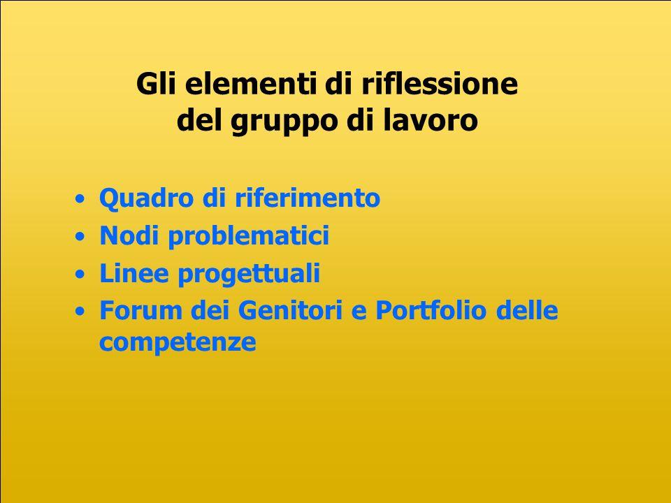Quadro di riferimento Nodi problematici Linee progettuali Forum dei Genitori e Portfolio delle competenze Gli elementi di riflessione del gruppo di lavoro