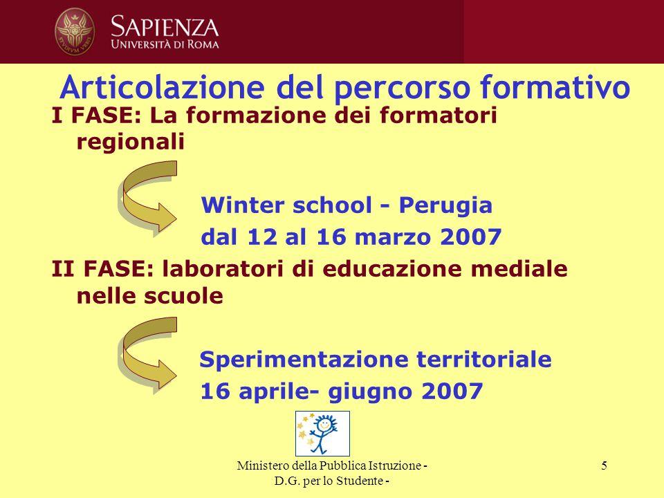 Ministero della Pubblica Istruzione - D.G. per lo Studente - 5 Articolazione del percorso formativo I FASE: La formazione dei formatori regionali Wint
