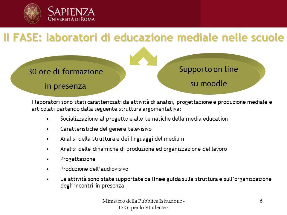 Ministero della Pubblica Istruzione - D.G. per lo Studente - 6 II FASE: laboratori di educazione mediale nelle scuole 30 ore di formazione in presenza