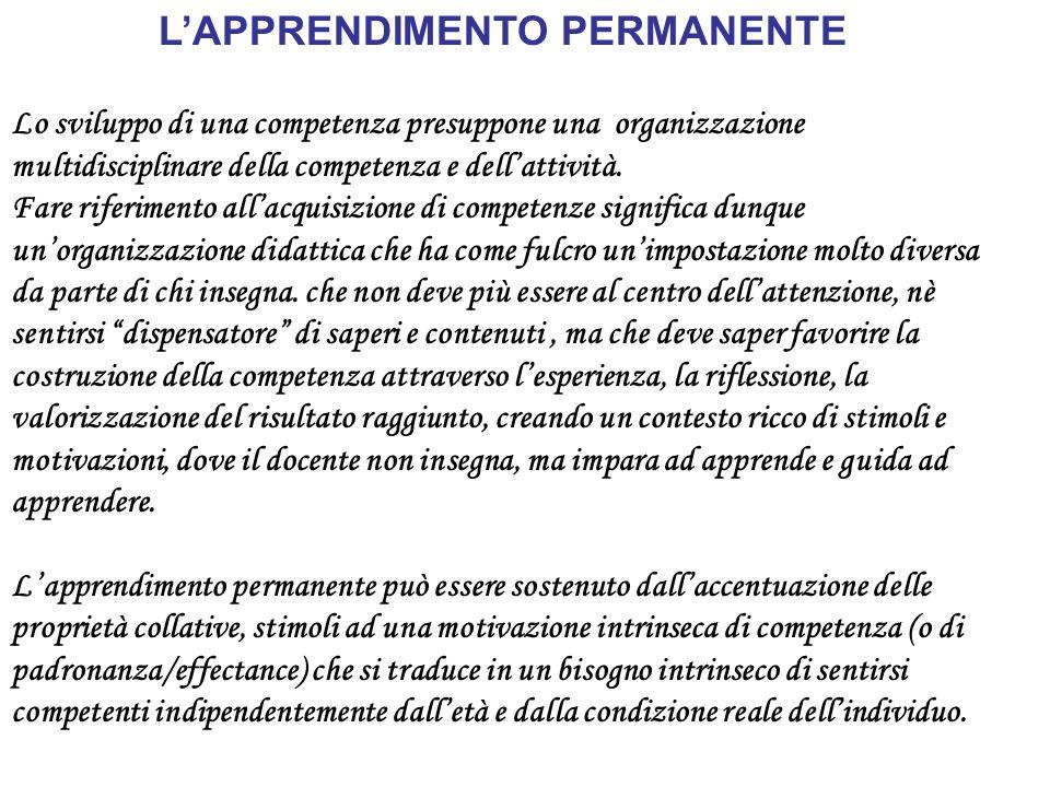 LAPPRENDIMENTO PERMANENTE Lo sviluppo di una competenza presuppone una organizzazione multidisciplinare della competenza e dellattività.
