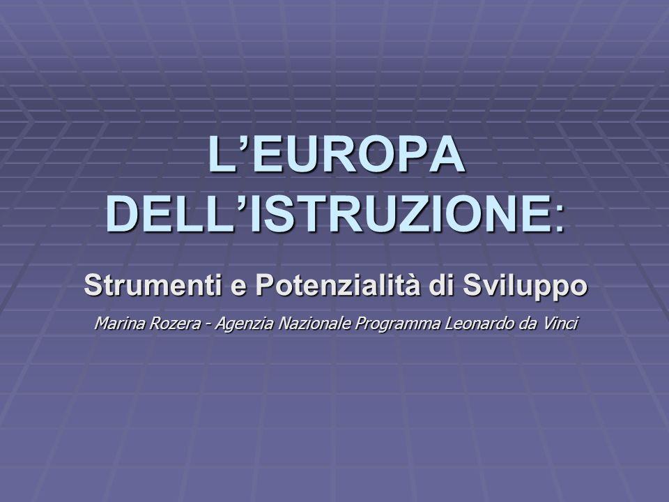 LEuropa dellIstruzione: Strumenti e Potenzialità di Sviluppo Roma, 9 febbraio 2005 Agenzia Nazionale Programma Leonardo da Vinci 10/13 MOBILITÀ E VALORIZZAZIONE: CONCENTRARE RISORSE E INTELLIGENZE