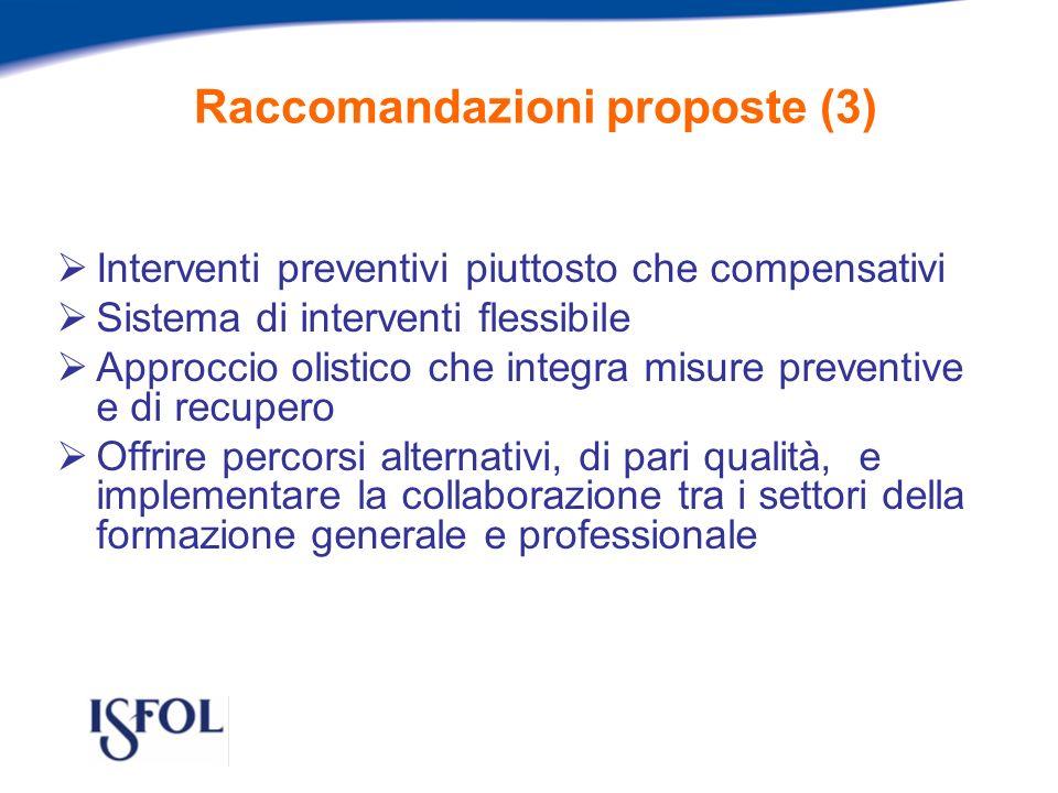 Raccomandazioni proposte (3) Interventi preventivi piuttosto che compensativi Sistema di interventi flessibile Approccio olistico che integra misure preventive e di recupero Offrire percorsi alternativi, di pari qualità, e implementare la collaborazione tra i settori della formazione generale e professionale