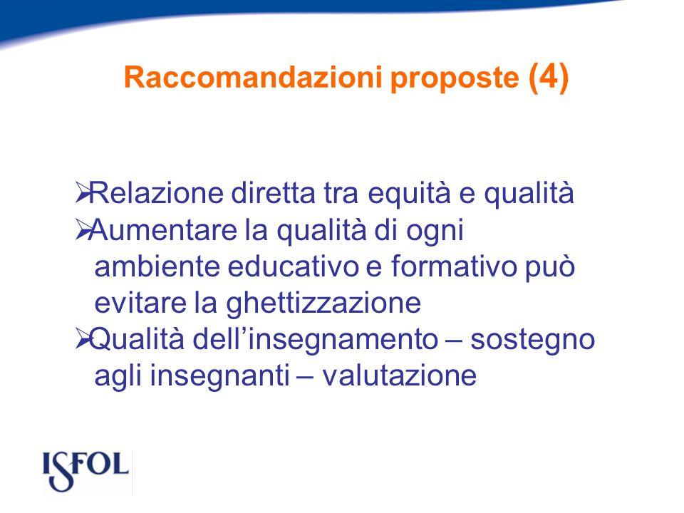 Raccomandazioni proposte (4) Relazione diretta tra equità e qualità Aumentare la qualità di ogni ambiente educativo e formativo può evitare la ghettizzazione Qualità dellinsegnamento – sostegno agli insegnanti – valutazione