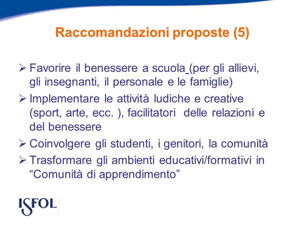 Raccomandazioni proposte (5) Favorire il benessere a scuola (per gli allievi, gli insegnanti, il personale e le famiglie) Implementare le attività ludiche e creative (sport, arte, ecc.
